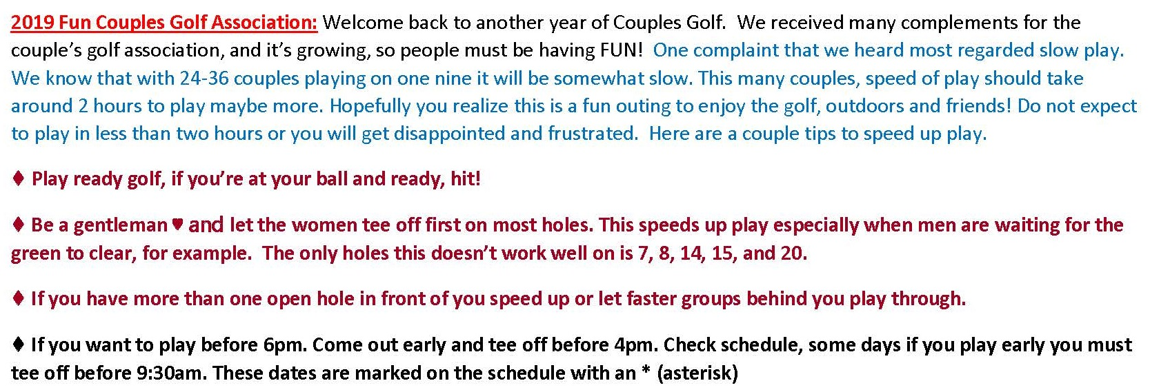 2019 Fun Couples Golf Association Speed up Play Slip