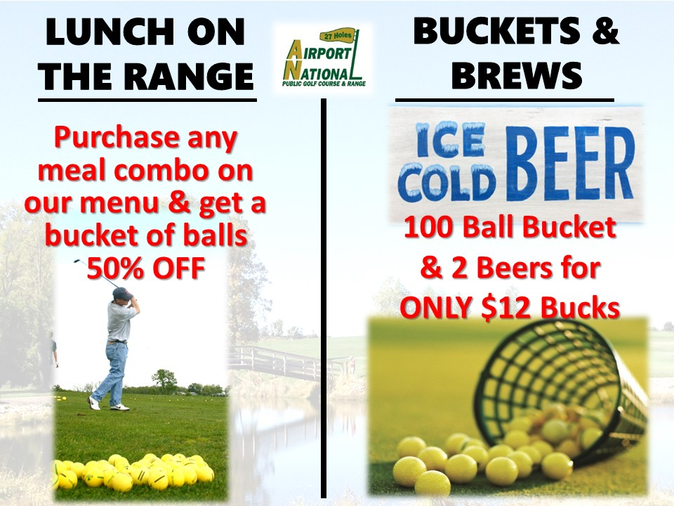 2020 Driving Range Specials lunch on the range and bucket and brews
